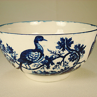 "Worcester Porcelain Waste Bowl, Birds In Branches  1780""s"