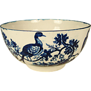 """Worcester Porcelain Waste Bowl, Birds In Branches  1780""""s"""