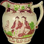 Pearlware Pink Lustre Hunting Jug  1815-1825