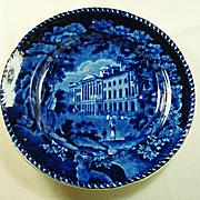 Staffordshire Adams Deep Blue and White Plate, St Paul's School, C1830