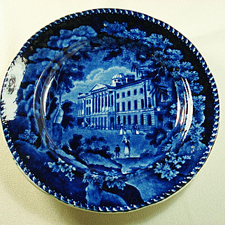 Staffordshire Adams Deep Blue and White Plate, St Paul's School, C1830