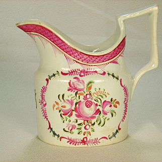 Pearlware Old Oval Shaped Creamer, Famille Rose Decoration