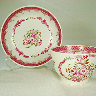 Pearlware Teabowl and Saucer in Famille Rose Decoration, C 1800-1810