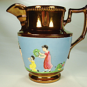 Copper Lustre Pitcher with Figural Enamel Decoration, 1830's