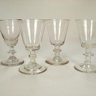 Set of Four Flint Glass Knop Stemmed Wine Glasses, C 1820