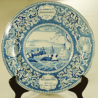 Landing of The Fathers Transfer-Printed PLate, Enoch Wood, 1820's