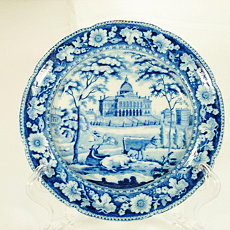 Boston State House Transfer-Printed Plate, Rogers, 1820's