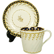 Chamberlain Worcester Coffee Can and Saucer, C1798
