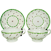 Brightly Colored Pair of Staffordshire Porcelain Cups and Saucers,, C 1850