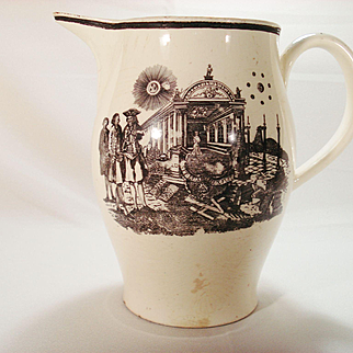 Liverpool Creamware Pitcher with Free Mason Decoration