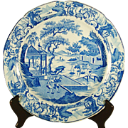 Stevenson Staffordshire Blue and White Plate with Unusual Mark, C 1820.
