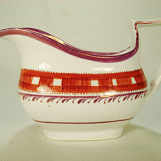Pink Lustre and Enameled English Porcelain Creamer, 1820's