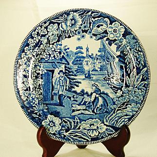 Fisherman's Hut Staffordshire Transferprinted Plate, 1820's