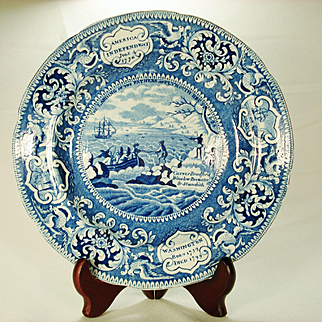 Staffordshire Landing of the Fathers Transferprinted Plate, Enoch Wood, 1820's