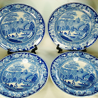 Set of 4 Staffordshire Blue Transfer Printed Soup Bowls, Wild Rose, C 1830-1850
