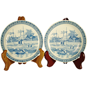 Pair of Staffordshire Transfer Printed Bowls, Asian Scene, C 1820