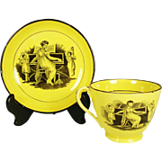 English Yellow Glazed Creamware Cup and Saucer, 1820's