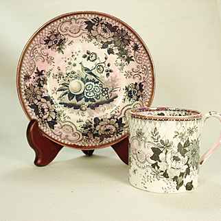 Davenport Coffee Can and Saucer, Nightingale    C 1840