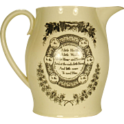 Large Creamware Liverpool Pitcher with Rhyme and Farm Scene  C 1800-1820