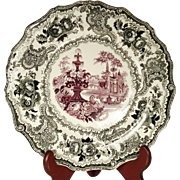 Large 2-Color Transfer Printed Plate, Staffordshire, 1830's