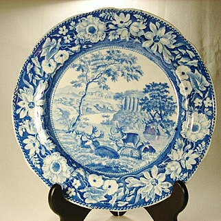 Deer and Folly Transferprinted Plate by John Rogers, 1820's