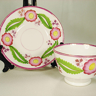 Pink Lustre Flower and Leaf Teabowl and Saucer, C1830