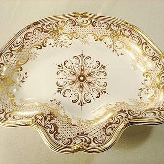 Davenport Gilded Dessert Dish, Rare Mark, 1830's