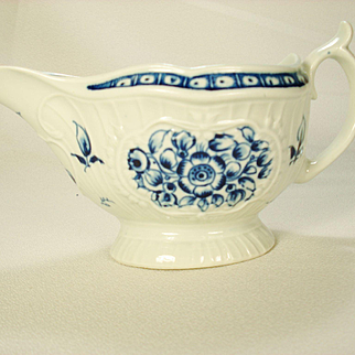 Worcester English Porcelain Relief Molded Sauce Boat, 1770's