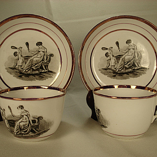 Pair of Staffordshire Lustre Adam Buck Decorated Cups and Saucers, C 1820