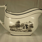 English London Shaped Porcelain Creamer With Black Transfer Print, 1820's