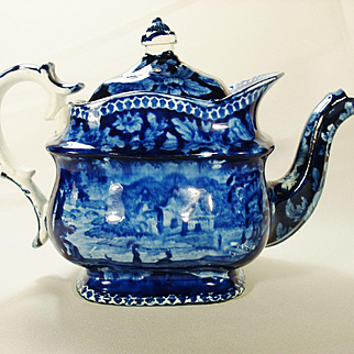 Staffordshire Dark Blue Transfer Printed Teapot,  1820's