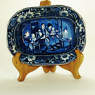 "Staffordshire Clews Bread Dish, Wilkie's Series, ""The Rabbit on the Wall""  1820's"