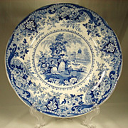 Romantic Scene Staffordshire Plate, Italian Buildings, c1840