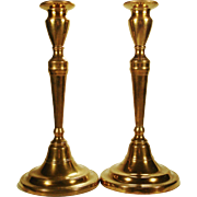 Pair of Bell Metal Neoclassical Candlesticks, c 1800