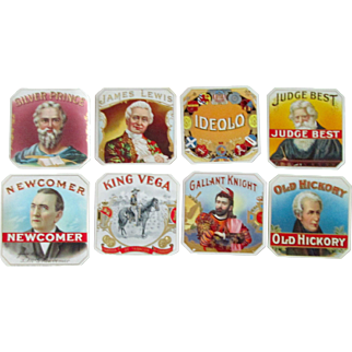 Tobacco embossed near mint cigar labels lot of 8 different early 1900's