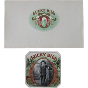 Tobacco embossed LUCKY BILL near mint cigar box 2 label set early 1900's