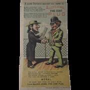Original Allen Jewel Plug tobacco metamorphic trade card circa 1880's-90's