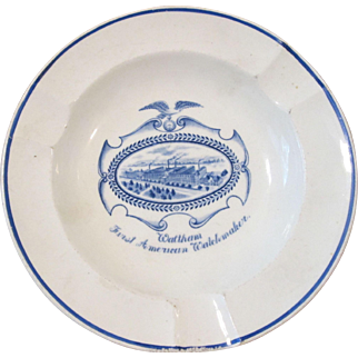 Early Wedgewood Waltham Watch Company advertising ashtray circa early 1900's