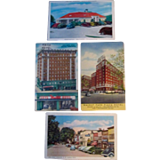 Vintage Automobiles with Hotels mint postcards 4 different circa 1930's