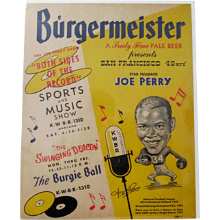 Burgermeister Beer Joe Perry Football Hall of Famer advertising sign 1950's