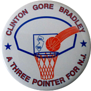 """Clinton Gore Bradley A Three Pointer For New Jersey 2 1/2"""" pin mint 1996"""