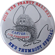 "Jimmy Carter Join The Peanut Gallery president campaign 2 1/4"" pin"