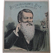 Buckingham's Dye for Whiskers metamorphic trade card 1880-90's