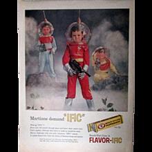 Beechnut Gum unusual magazine ad Space Kids/Martians circa 1950's
