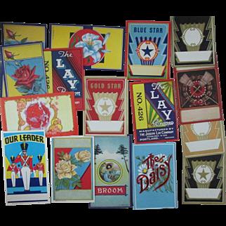 Vintage Broom labels 30 different mint unused variety of designs 1930's-1960's