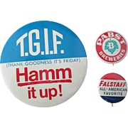 Hamm Falstaff Pabst Beer lot of three brewery pins excellent condition