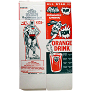 Batman Orange Drink mint unused illustrated container 1966