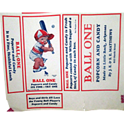 Ball One baseball theme popcorn and candy box label US Patent Model 1928