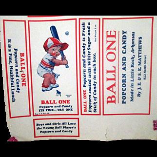 Ball One baseball theme popcorn and candy box label US Patent Model 1928
