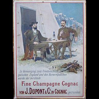 Scarce Fine Champagne Cognac thick cardboard Boer War scene early 1900's